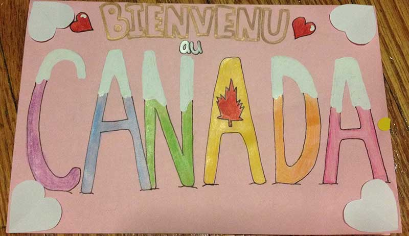 An example of a Welcome Card for a Syrian refugee